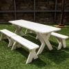 White Picnic Table & Benches